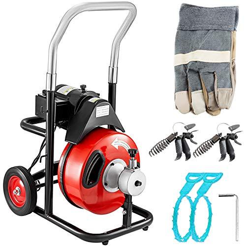 VEVOR Rohrreinigungsmaschine Rohrreinigungsgerät Spirale 75 x 3/8 Zoll 370W für die Rohrinstallation