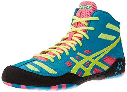 Asics Men's JB Elite Wrestling Shoe,Teal/Flash Yellow/Pink,10.5 M US/43.5 EU
