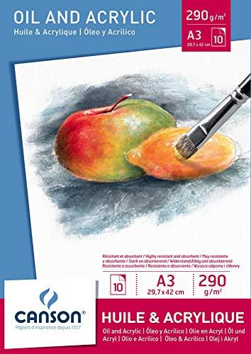 Canson 200005786 - Öl- und Acrylpapier A3, 290 g/m², 10 Blatt, weiß