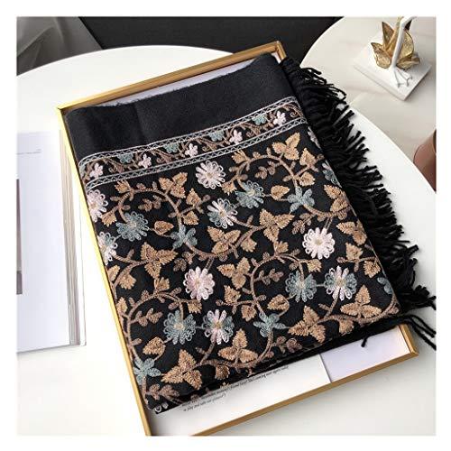 hkwshop Bufandas Chal Bufanda de la Cachemira for el otoño y el Invierno de la Vendimia Bordado Floral Grande Bufandas Calor Mantón Grueso de Marca Moda Bufandas (Color : E)