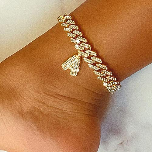 12mm DIY DIY Cuba Cuba Cadena Iced out Letter Anklet para Mujer Hip Hop Cuban Toba Rhinestone Foot Jewelry Wholesale (Main Stone Color : Gold, Metal Color : Letter B Anklet)