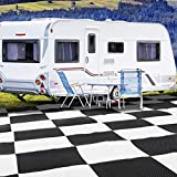 SAND MINE Reversible Mats, Plastic Straw Rug, Modern Area Rug, Large Floor Mat and Rug for Outdoors, RV, Patio, Backyard, Deck, Picnic, Beach, Trailer, Camping (9' x 18', Black & White Checkered)