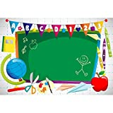Leyiyi 5x3ft Vinyl Photography Background Welcome to Kindergarten Backdrop ABC Letters Blackboard Watercolor Pen Paper Airplane Globe Back to School Themed Party Backdrops Banner
