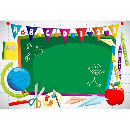 Leyiyi 5x3ft Polyester Photography Background Welcome to Kindergarten Backdrop ABC Letters Blackboard Watercolor Pen Paper Airplane Globe Back to School Themed Party Backdrops Banner