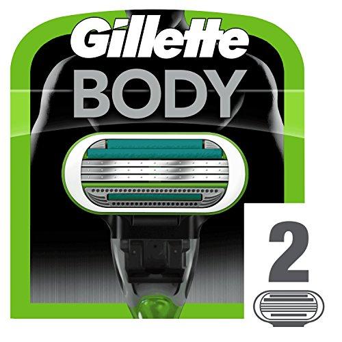 Gillette Body Cuchillas de Afeitar Corporales Hombre, Paquete de 2 Cuchillas de Recambio