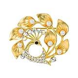 FOCALOOK パール ゴールド ブローチ アンティーク フォーマル 18金 動物 真珠 アクセサリー ブランド ジルコニア
