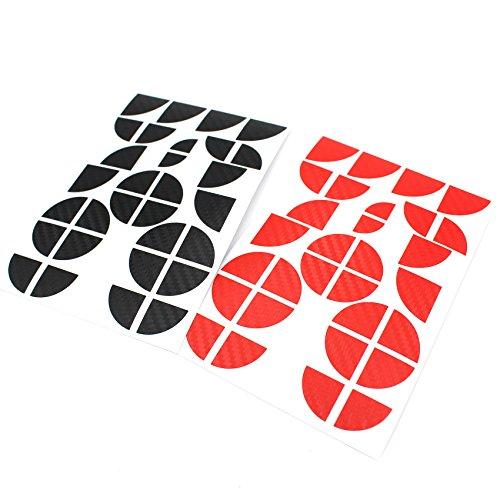 Finest-Folia 4D Carbonfolie Emblem Ecken Aufkleber (K004 Schwarz Rot)