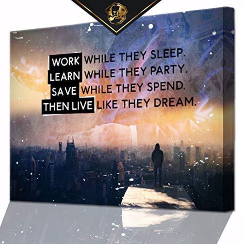 DotComCanvas® XXL Motivation-Wandbild für Erfolg | Leinwand direkt Aufhangbereit LIVE Like They Dream (80 X 60 cm)