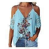 ZYZS Vestido de mujer con cuello en V, encaje, espalda abierta, estampado floral azul XL