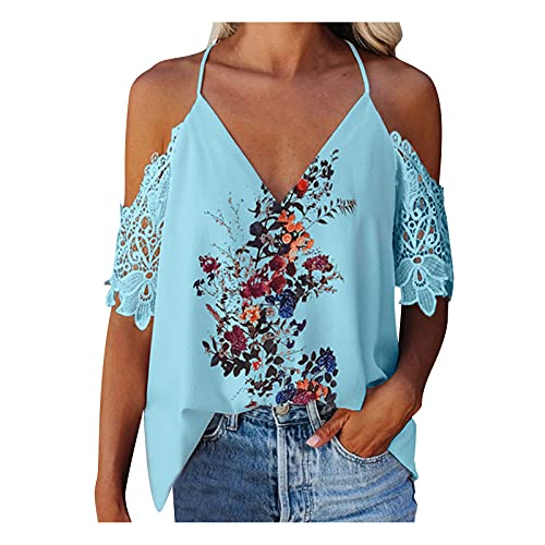 Blusa de manga corta para mujer, estilo vintage, con estampado floral, cuello en V, espalda descubierta, estilo informal azul XXL