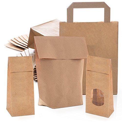 SET 4 x 25 Natur-Tüten kleine Papiertüten Geschenktüten Geschenktaschen BRAUN Verpackung bio natürlich Geschenkverpackung Papierbeutel Natronpapier Boden-Beutel Sackerl Säckchen