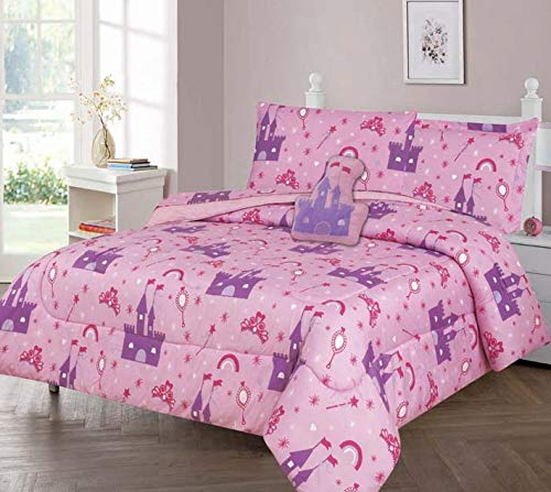 GorgeousHomeLinen Boys Girls Teens Twin 6PC Comforter Bedding Set with Matching Sheets and Small Decorative Pillow Bed Dressing for Kids (Princess Palace)