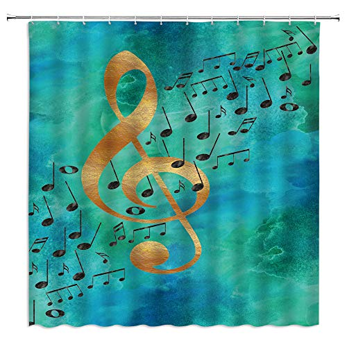 WZFashion Music Note Shower Curtain Creative Musical Notes Turquoise Green Blue Background Modern Elegant Abstract Musical Notes Patchwork Classic Art Music Hobbyist Bath Curtains Fabric with Hook