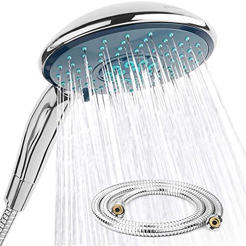 jocalvi – Set de ducha de mano con manguera – XXL Wellness – 4 tipos de chorro – Alcachofa de ducha 150 mm de diámetro con manguera de ducha de 1,5 m – para bañera y ducha