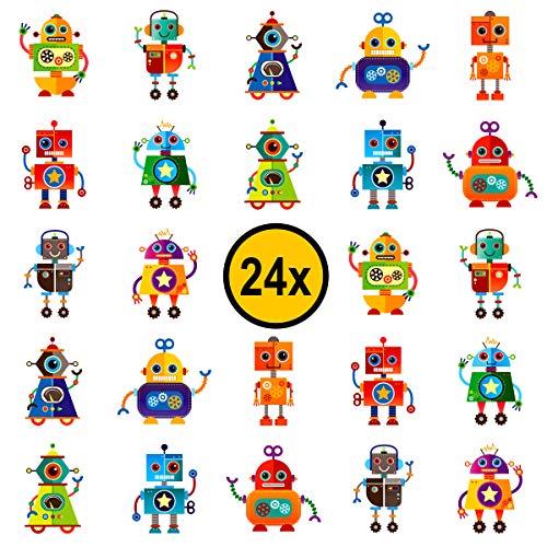 Roboter Kinder Tattoos / für Jungen und Mädchen / Mitgebsel / Kindergeburtstag / Robot / Kinder Tattoo Set von PartyPack™ (24)