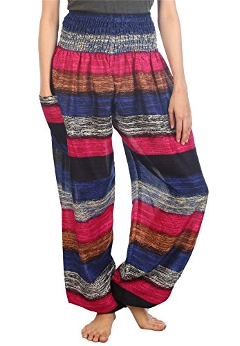 LOFBAZ Harem Pants for Women Yoga Boho Hippie Clothing Bohemian Palazzo Beach Maternity Pajama Gypsy Indian Travel Clothes Pink & Dark Blue 2XL