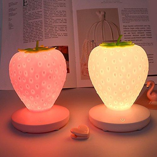 Rongxin Luz nocturna de fresa USB de carga táctil de inducción pequeña lámpara de mesa ajustable LED lámpara de noche lámpara de ambiente para el hogar (color emisor: rojo fresa)
