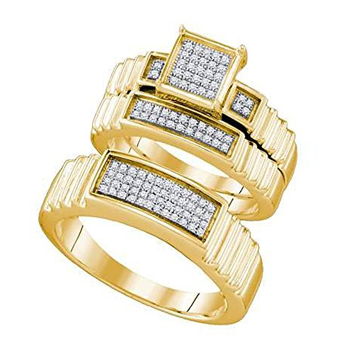Dazzlingrock Collection - Anillo de boda de diamante blanco redondo de 0,30 quilates (peso total de quilates) 10 K, para hombre y mujer, 1/3 CT, oro amarillo