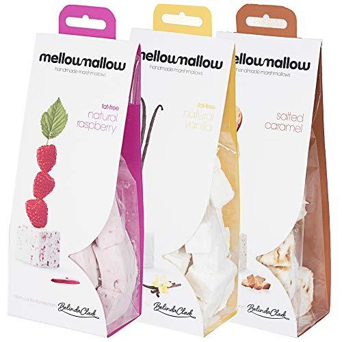 Belinda Clark Gourmet-Marshmallows – Handgemacht, 100 % natürlich –Himbeere – Vanille – Salted Caramel Marshmallows - 3 x 85-Gramm-Packungen
