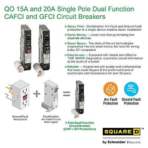 Square D by Schneider Electric QO115DFC 15 Amp Single-Pole Dual Function (CAFCI and GFCI) Circuit Breaker