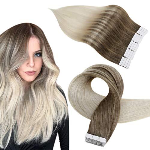Easyouth Cheveux Humains de Adhesive Naturel Vrais Extensions Couleur Brun Clair se Fanant au Blond Platine Hair Extensions de Bande de Cheveux Extensions 12Pouce 20Pcs 30g