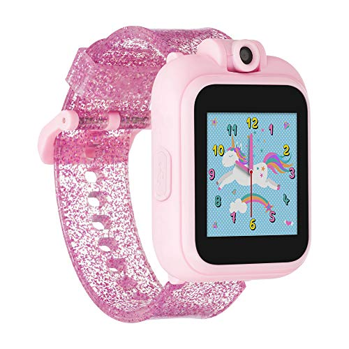 iTouch Playzoom Kids Smart Watch with Swivel Camera, Photo Filters, Video Recorder, Stopwatch, Calendar, Sound Animations, Educational and Active Games (Pink Glitter)