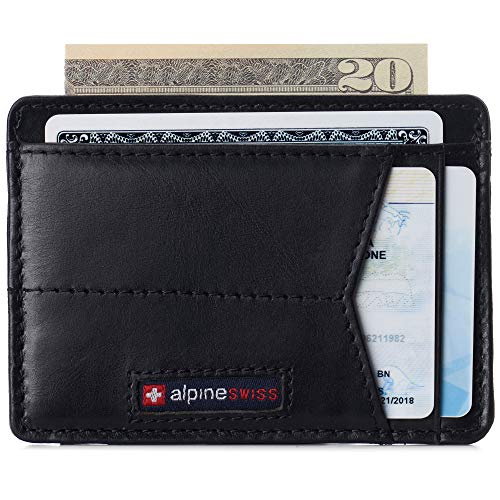 Alpine Swiss Oliver Mens RFID Blocking Minimalist Front Pocket Wallet Leather Comes in a Gift Box Black
