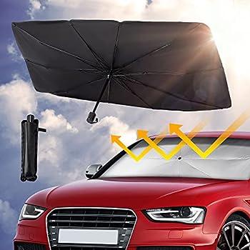 Car Front Windshield Sunshade Umbrella  UV Protection & Heat Insulation Foldable Sun Shade Sun Visor Full Cover Sun Shade for Most Vehicles 57 X31