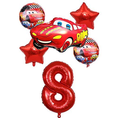 XIAOYAN Globos 6 unids Racing Coche Lightning Mcqueen Cumpleaños Globos Baby Cumpleaños Fiesta Decoraciones Suministros 32 Pulgadas Número Foil Ballons Kid Toy ( Color : Red8 )