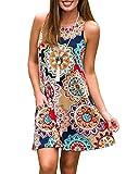 Abravo Mujer Vestido Estampado Floral sin Mangas Vestido Casual Corto Playa con un Bolsillo,Azul Marino,S