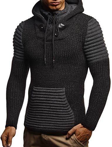 Leif Nelson Herren Pullover Slim Fit Hoodie Strick-Pulli Kaputze Biker Sweater gesteppt LN5625; M; Sch-Anthra
