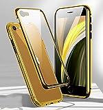 Funda para iPhone SE 2020 Magnética Carcasa,360 Funda Protectora de Cuerpo Completo,Rugged Metal Bumper Antigolpes Case,Cubierta de Cristal Templado con Protector de Pantalla para iPhone SE/8/7,Dorado