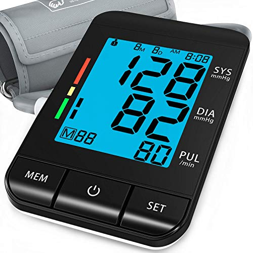 """Blood Pressure Monitor Upper Arm (Smart Pressurized Tech), with 9-17"""" Extra Large Cuff for Home Use, Automatic Clinical Accurate BP Machine, 2 Users 180 Memory with Date & Time, with 4 AAA Batteries"""