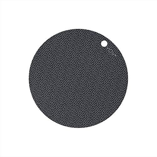 OYOY Living Design 2er Set Platzset Abwischbar Rund 39cm für Erwachsene und Kinder 100% Silikon Schwarz Grau Punkte - 110081
