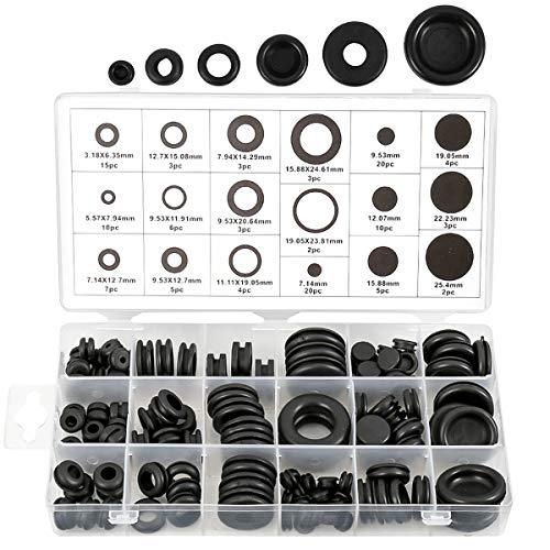 125-teiliges Gummidichtungs-Set, 18 Größen, Blinddichtung, O-Ring, Sortiment zum Schutz von Drähten, Steckern und Kabeln.