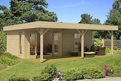*Gartenhaus G149 inkl. Fußboden und Schleppdach – 44 mm Blockbohlenhaus, Grundfläche: 45,50 m², Flachdach*