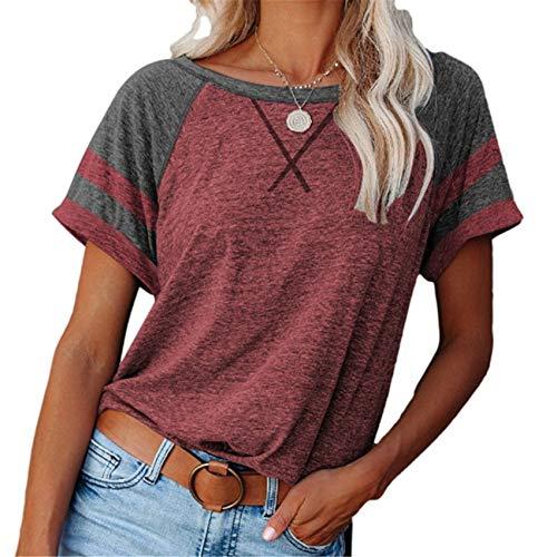 Camiseta Casual De Manga Corta con Parte Superior Suelta Cruzada A Juego De Color De Primavera Y Verano para Mujer