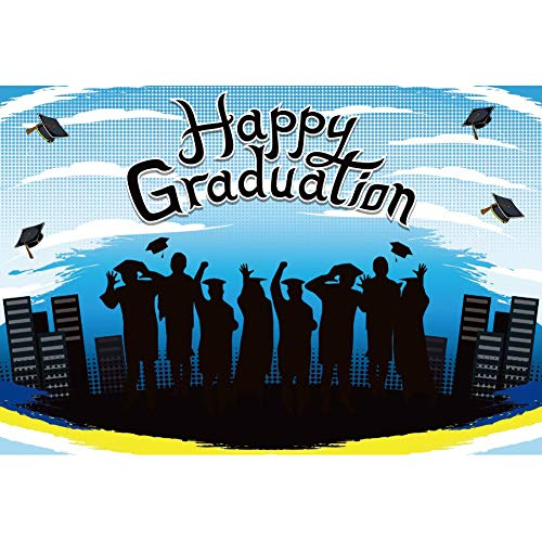 YongFoto 12x10ft Happy Graduation Backdrop Cartoon Scene Students Caps Buildings Photography Background Congrats Grad Prom Dance Party Banner Portrait Photo Decor Shoot Studio Booth Props