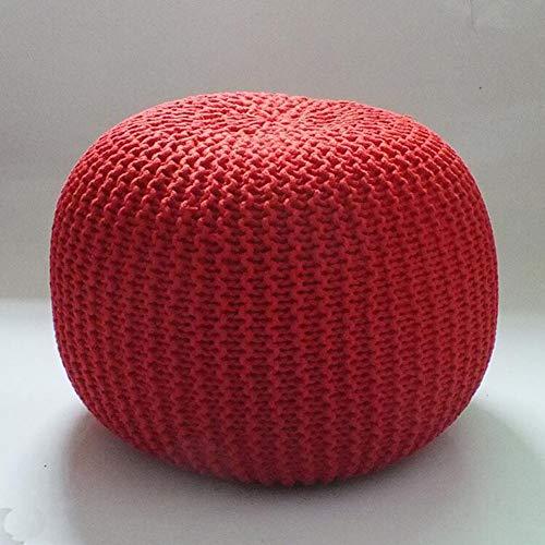XER Marroquí Grande Puffe Pouffe Footstool Chunky Hand Pouf Pouf Pie Taburete Taburete de Estar Moderno Asiento de cojín por Confort Colecciones,Rojo,40x40x30cm