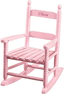 Miles Kimball Personalized Children's Rocking Chair, Features Classic Rocker Design and Hardwood Construction, Pink Finish with Pink Font