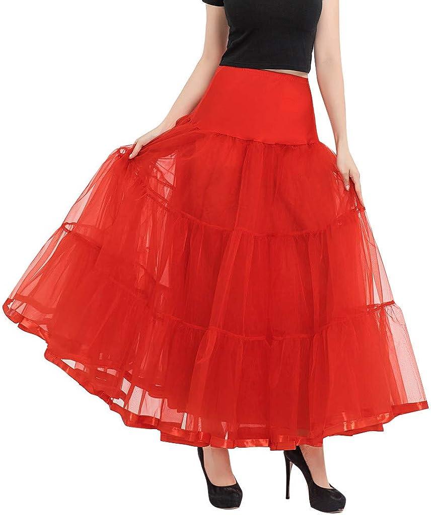 Litetao Women's Long Petticoats Skirts Vintage 1950s Wedding Half Slips Tutu Underskirt Solid Color Skirts