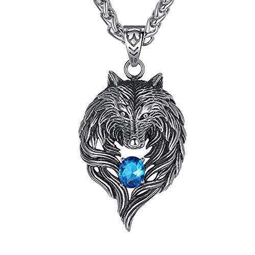 GuDeKe Men's Stainless Steel Tribal Wolf Pendant Necklace, Blue Crystal