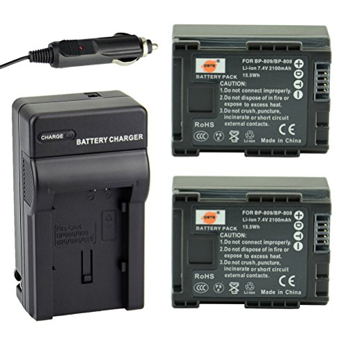 Compatible with Canon BP-809 Digital Camcorder Battery and Charger Replacement for Canon VIXIA HF200 Battery and Charger Decoded 890mAh 7.4V Lithium-Ion 2 Pack