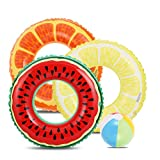 Lucky Doug 3 PCS Swimming Rings with 1 Beach Ball Inflatable Pool Floats for Kids Adults 32.5'' Pool Tube Toys for Summer Beach Water Float Party, Swimming Pool, Beach Time
