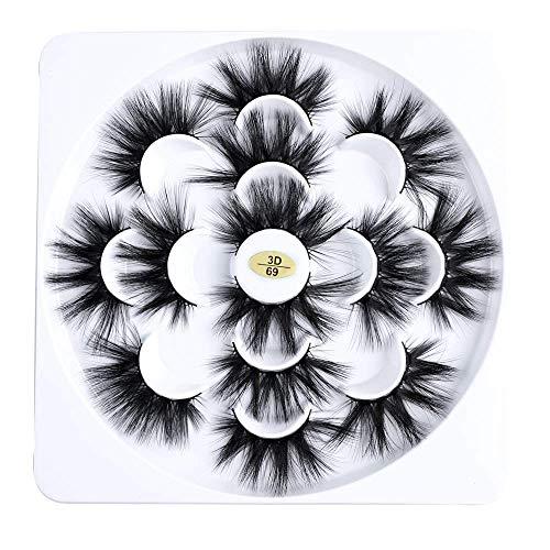 YLLN 4/7 Paare Augen Make-up Werkzeuge Grausamkeitsfrei Wispy Fluffy Hair Dickes langes 3D Nerz Haar Augenverlängerung Falsche Wimpern Kreuz (7 Paare)