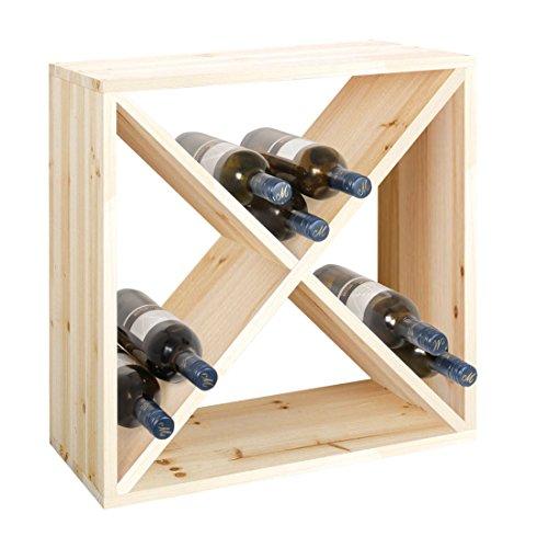 Weinregal / Flaschenregal System Modul X-CUBE für 24 Flaschen, Holz Kiefer natur, stapelbar / erweiterbar - H 50 x B 50 x T 25 cm