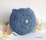 MYMEHI Bolso redondo de verano azul denim para mujer, bolso de hombro o de mano pequeño de crochet en algodón, bolso de verano ideal para niña
