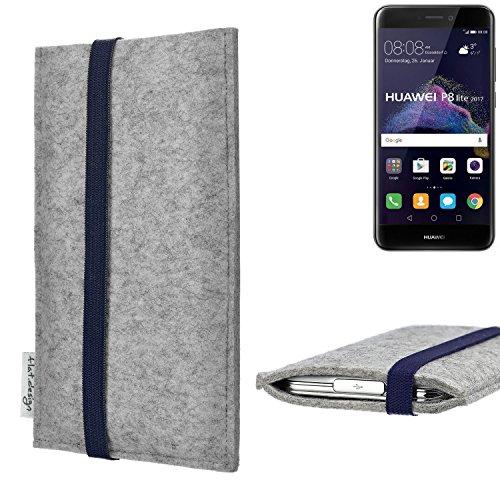 flat.design Handy Hülle Coimbra kompatibel mit Huawei P8 Lite 2017 Dual SIM - Schutz Hülle Tasche Filz Made in Germany hellgrau blau