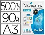 Papel fotocopiadora navigator din a3 90 gramos papel multiuso ink-jet y laser - paquete de 500 hojas.