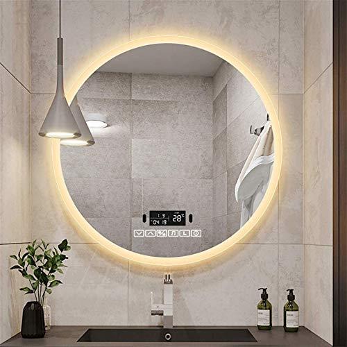 Espejo LED Deluxe - Espejo de tocador de baño, espejo de tocador iluminado de pared con almohadilla de demisterización incorporada y interruptor de sensor de tacto y sensor táctil - Espejo con ilumina
